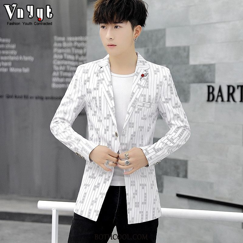 Blazer Mens Buy Casual Thin Coat Personality Cloak Slim Fit White