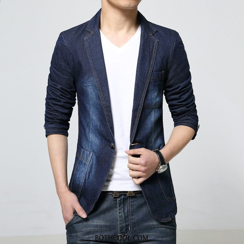 Blazer Mens Buy Men Tops New Casual Europe Spring Denim Blue
