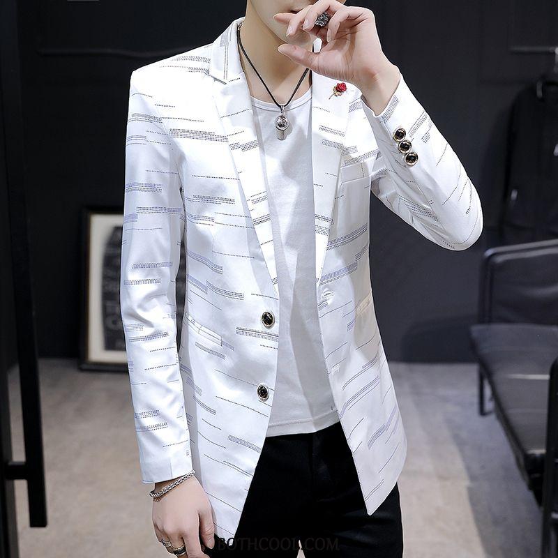 Blazer Mens Buy Suit Europe Slim Fit Spring Men's Trend White