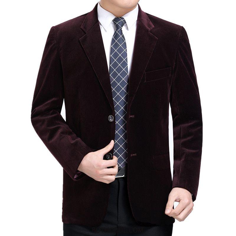 Blazer Mens Buy Tops Coat Corduroy Casual Men Men's Red Purple