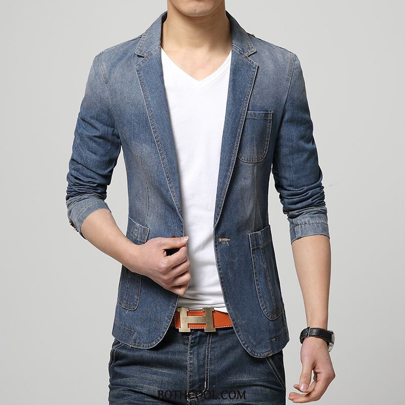 Blazer Mens Cheap British New Coat Men's Suit Men Denim Navy Blue