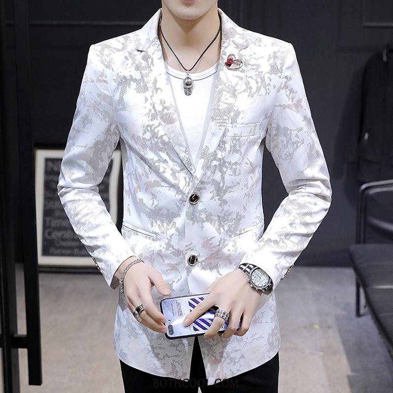 Blazer Mens Cheap Coat Autumn Men New Slim Fit Tops White