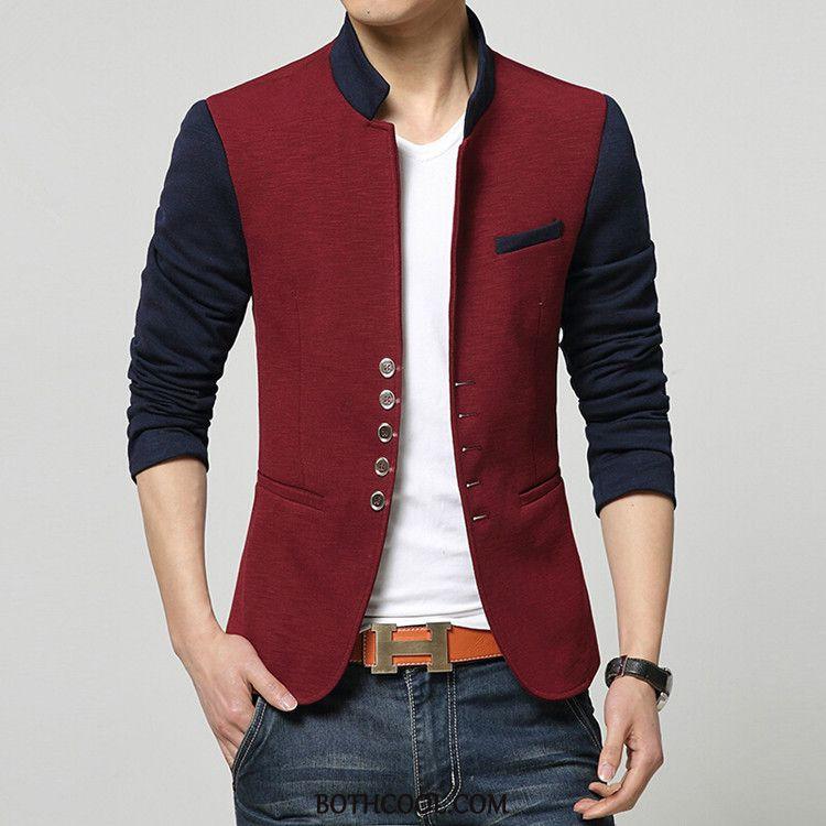 Blazer Mens Cheap Men Autumn Handsome Stand Collar Tops Europe Red