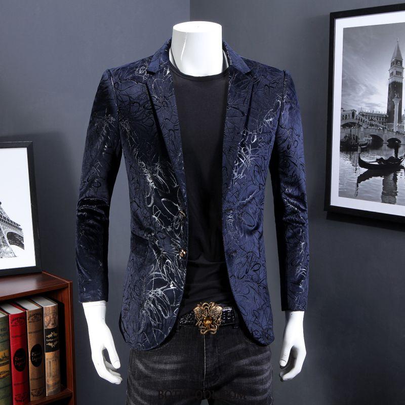 Blazer Heren Korting Pak Bloemen Mode Brits Heren Nieuw Blauw