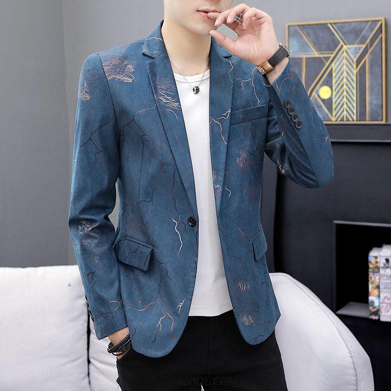 Blazer Heren Sale Jasje Trend Bedrukken Casual Mooi Heren Blauw