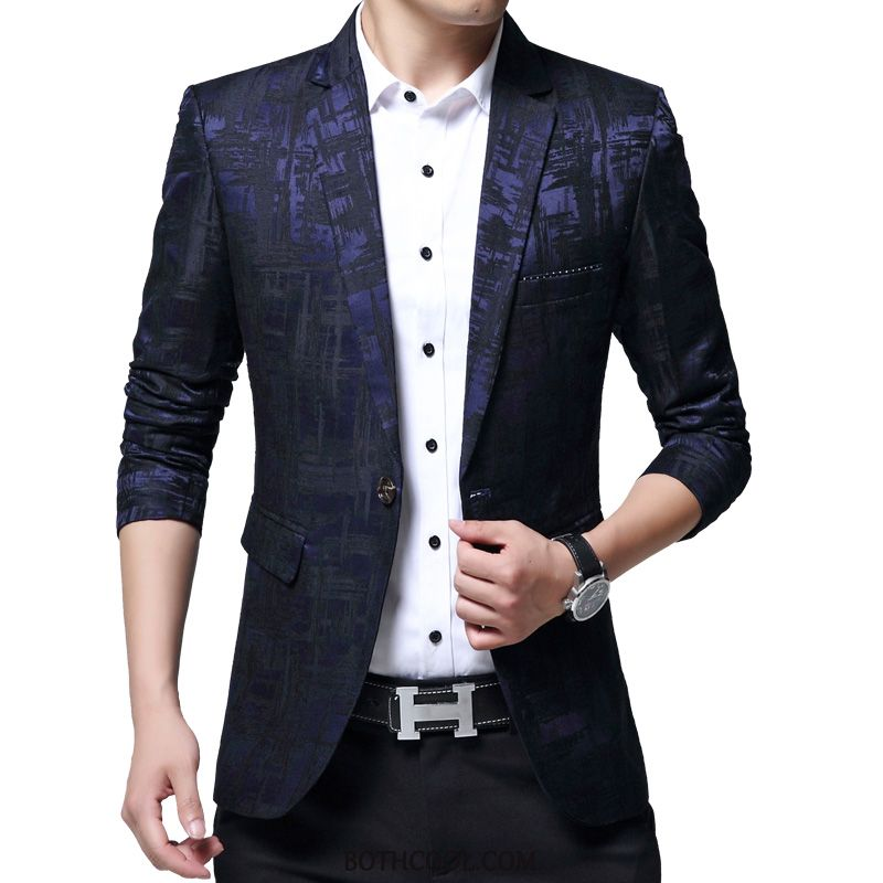 Blazer Mens Cheap Popular Europe Business Slim Fit Autumn Suit Printing Pattern Blue