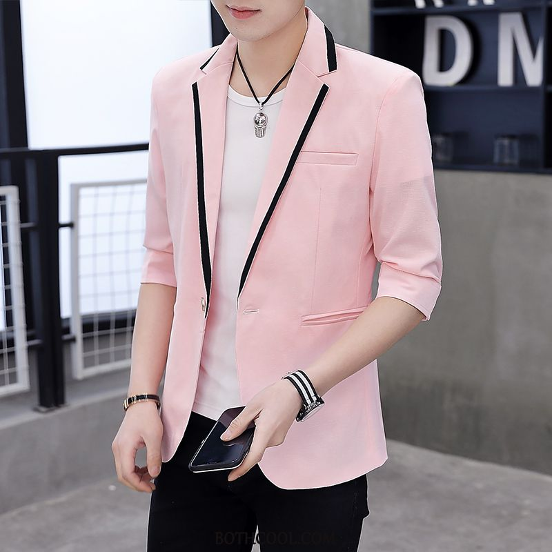 Blazer Mens Cheap Sleeve Summer Handsome Europe Men Tops Pink