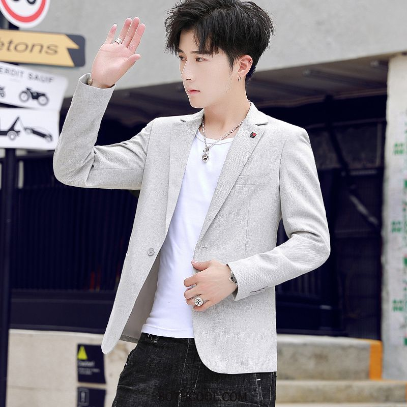 Blazer Mens Cheap Slim Fit Casual Handsome Tops Trend Suit Creamy-white