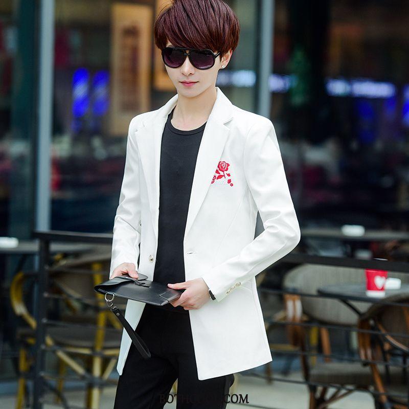 Blazer Uomo Scontati Casual Moda Slim Fit Ospite Abito Completo Cappotto Puro Bianco