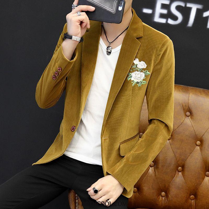 Blazer Heren Online Bovenkleding Jas Mooi Pak Herfst Slim Fit Geel Rood
