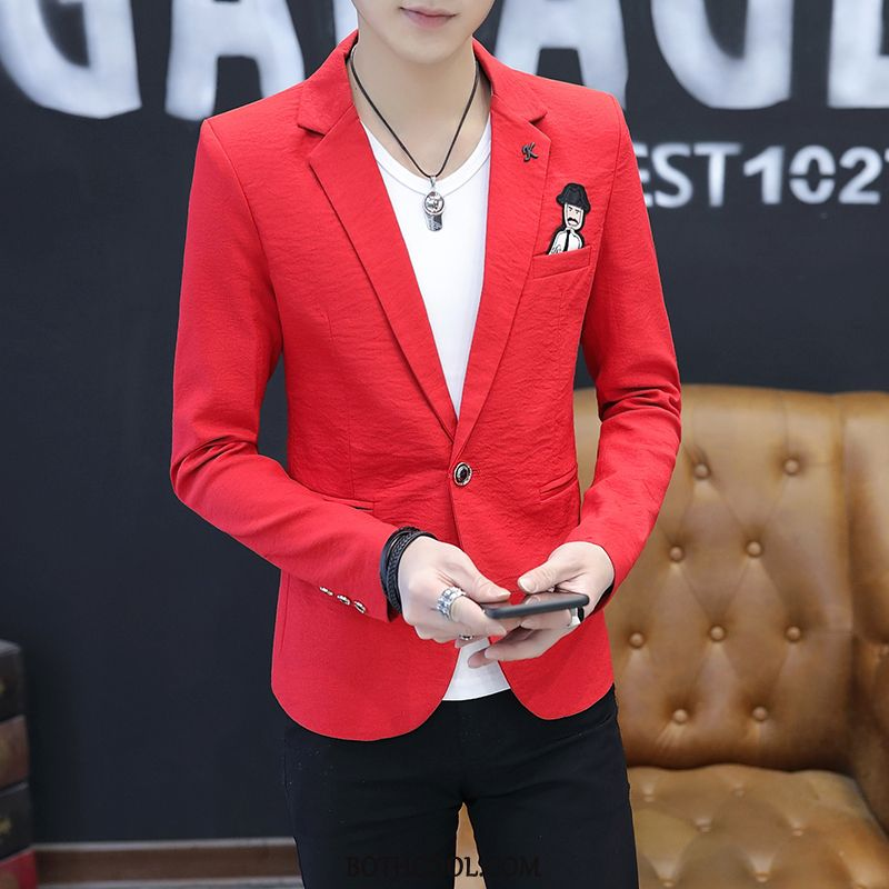 Blazer Mens Cheap Thin Section Slim Fit Men's Casual Handsome Suit Red