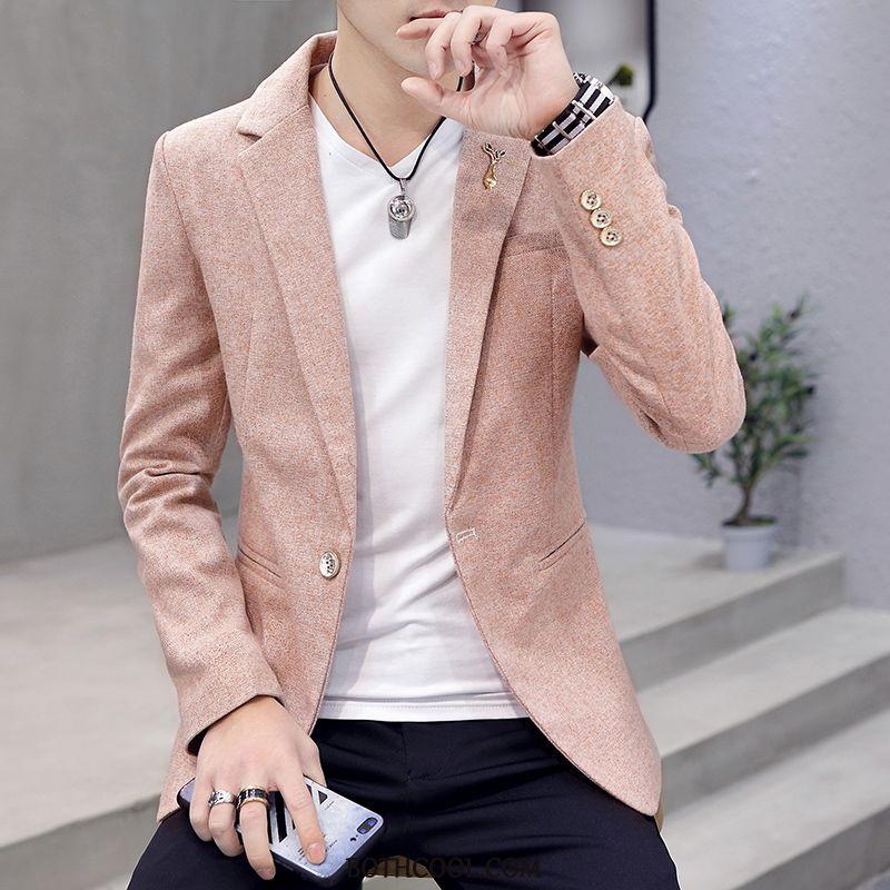 Blazer Mens Cheap Tops Slim Fit Solid Color Coat Trend Suit Pink