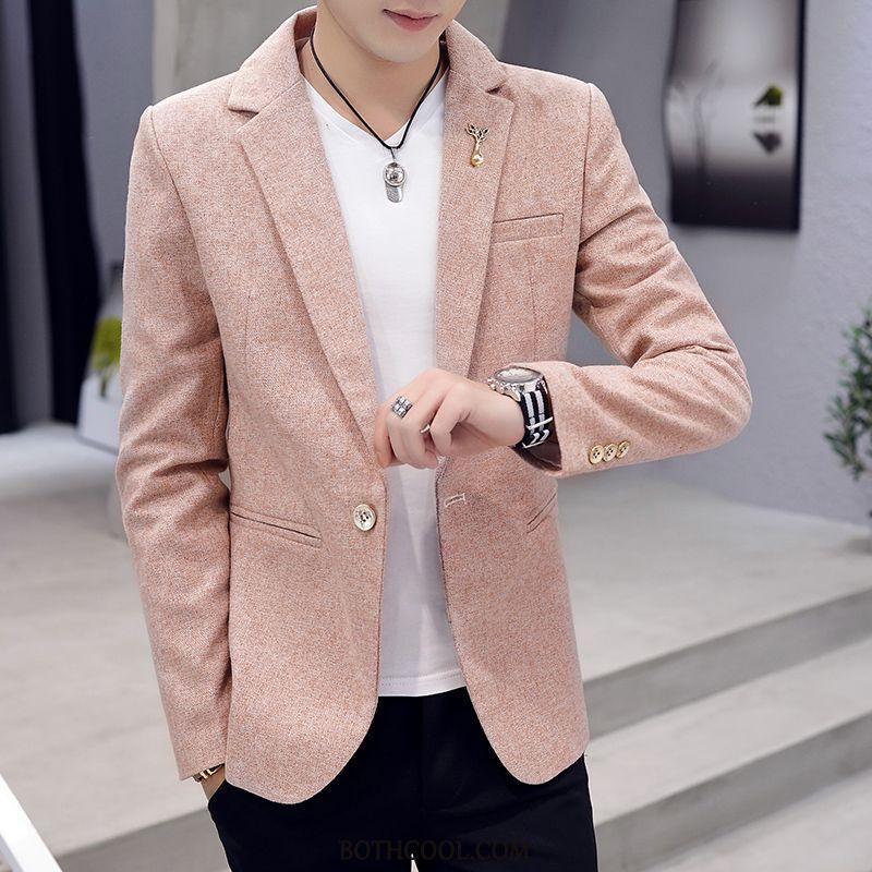 Blazer Heren Goedkoop Trend Heren Jeugd Slim Fit Casual Mooi Effen Kleur Roze