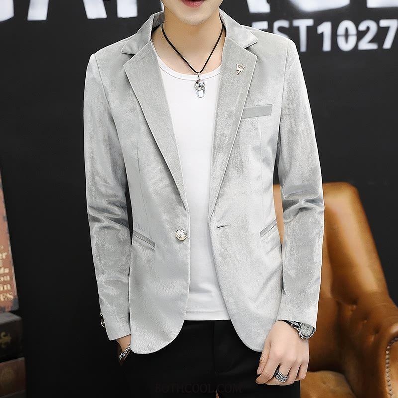Blazer Mens Discount Online Autumn Spring Suit Trend Coat Europe Gray