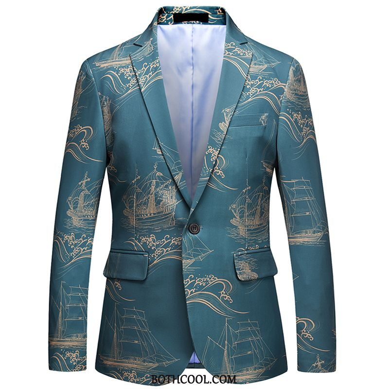 Blazer Mens Discount Online Embroidery Casual Suit Men's New Large Size Blue