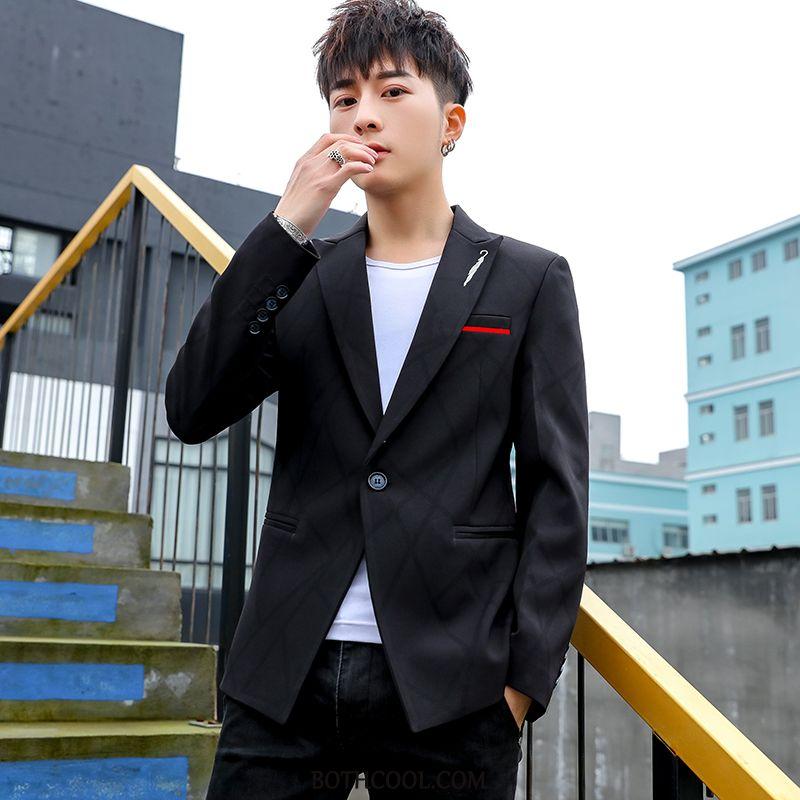 Blazer Mens Discount Online Europe Casual Teens Coat Student Slim Fit Black