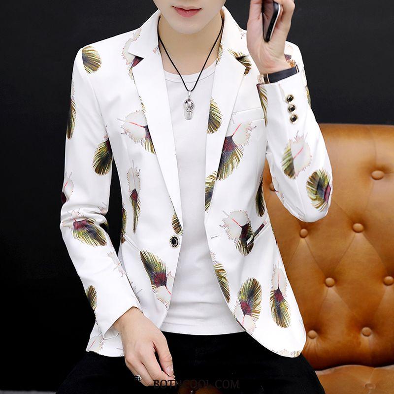 Blazer Mens Discount Online Flower Coat New Personality Trend Slim Fit White