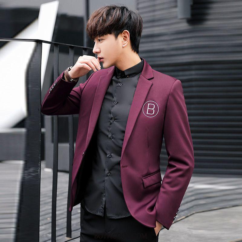 Blazer Heren Winkel Trend Pak Slim Fit Student Casual Jasje Rode Wijn