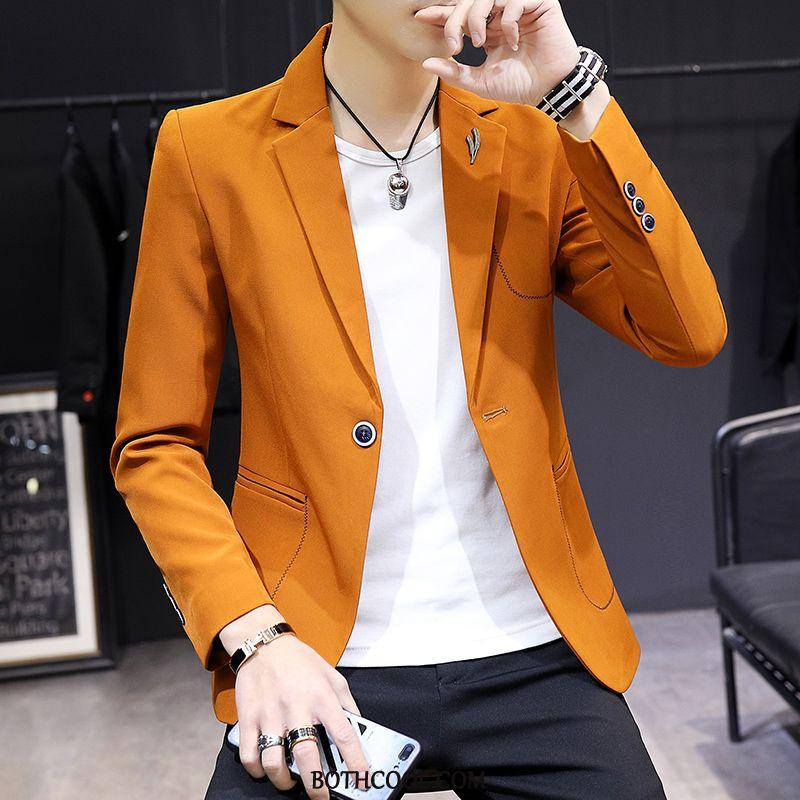 Blazer Mens Discount Online Trend Men's Casual Handsome Clothing Slim Fit Yellow Orange