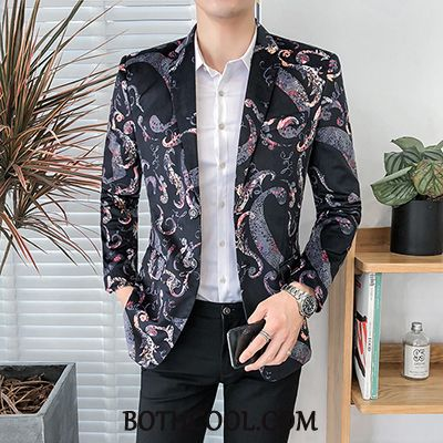 Blazer Heren Sale Bloemen Jas Patroon Persoonlijk Trend Bedrukt Zwart
