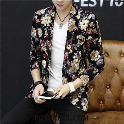 Blazer Heren Kopen Pak Trend Persoonlijk Patroon Bedrukken Slim Fit Wit Beige
