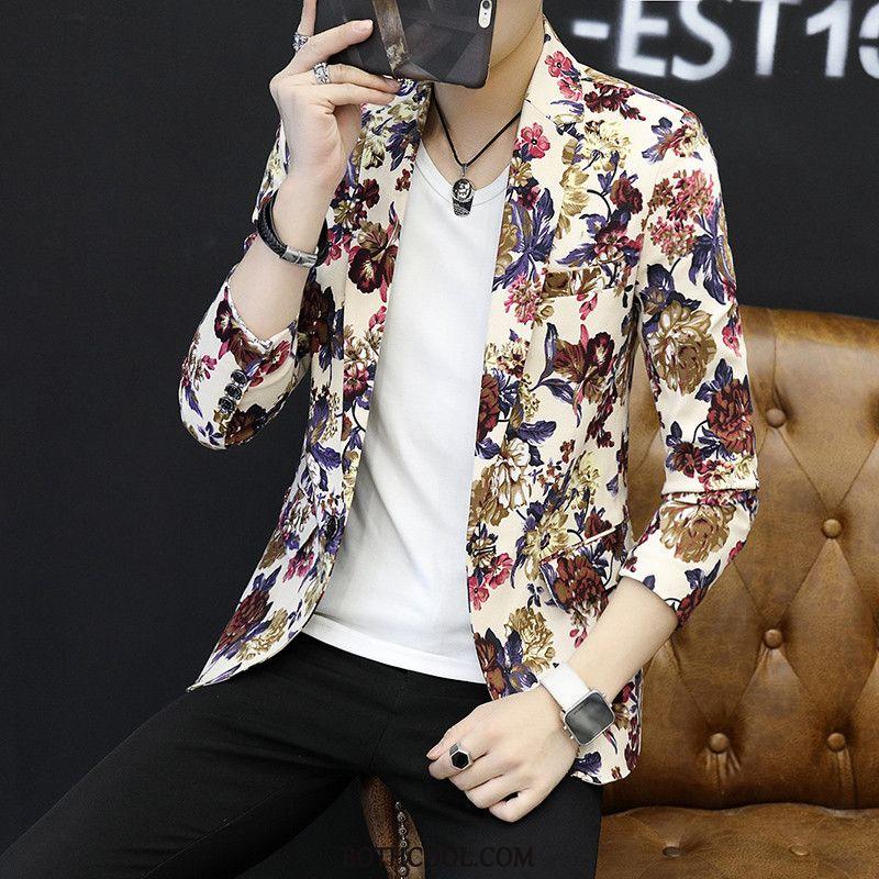 Blazer Mens Discount Slim Fit Suit Trend Autumn Men Europe Printing Pattern White