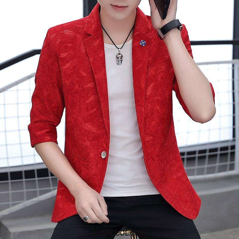 Blazer Mens Discount Summer Men Coat Sleeve Trend Half Sleeve Red