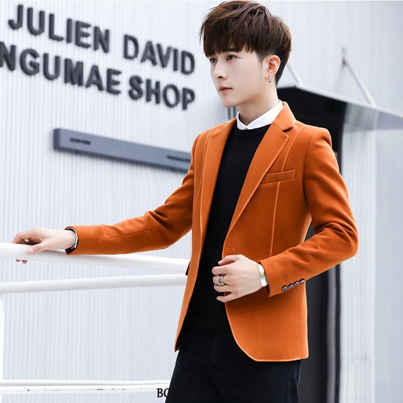 Blazer Heren Kopen Slim Fit Heren Pak Mannen Winter Trend Effen Kleur Oranje