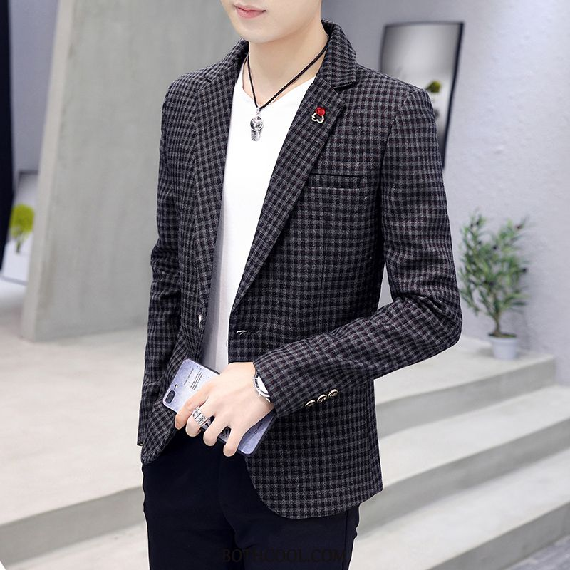 Blazer Mens For Sale Casual Checks Youth Tops Men's Suit Black