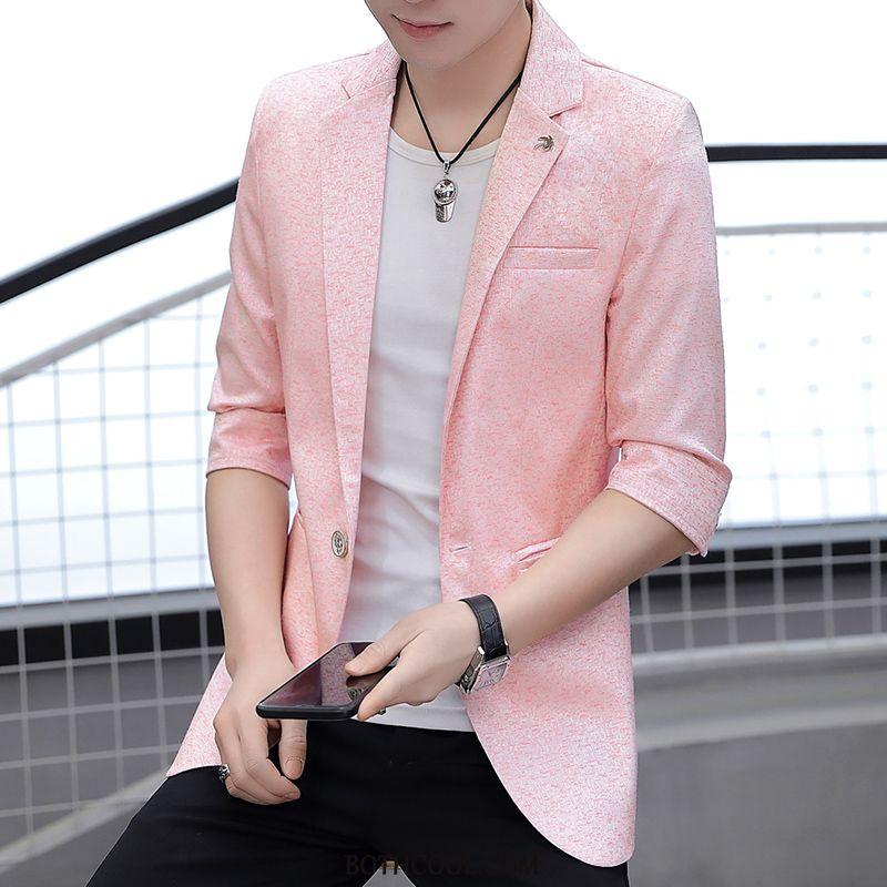 Blazer Mens For Sale Coat Suit Tops Sleeve Trend Men's Pink
