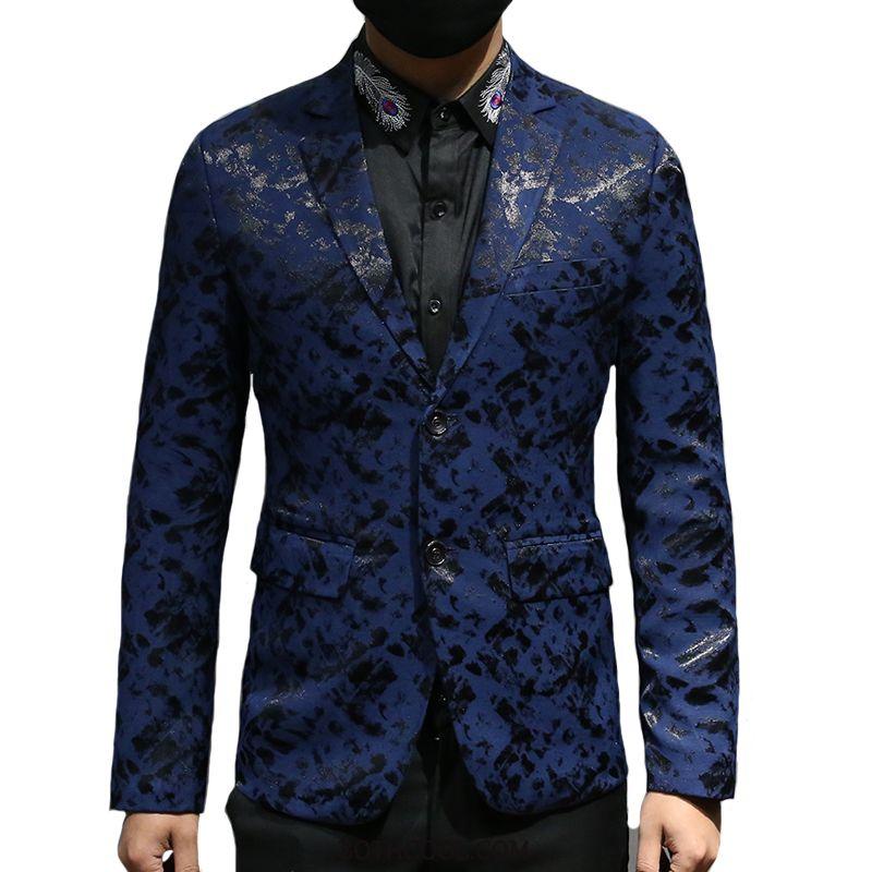 Blazer Uomo Economica Autunno Abito Completo Casual Moda Primavera Uomo Blu Scuro