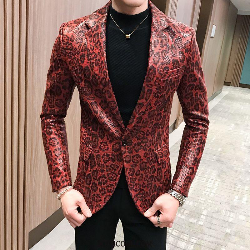 Blazer Uomo Scontate Abito Slim Fit Gioventù Giacca Di Pelle Sottile Uomo Rosso