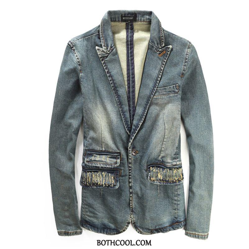 Blazer Mens Online Jacket Coat Spring Slim Fit Men's Retro Denim Blue