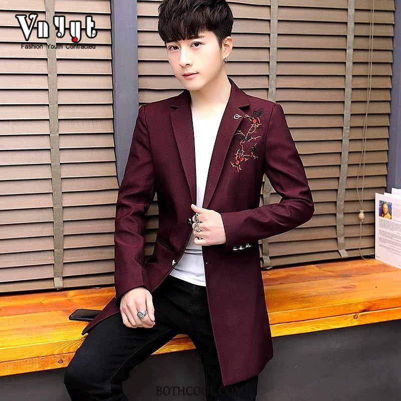 Blazer Mens Online Sale Suit Coat Europe Autumn Personality Thin Red Purple