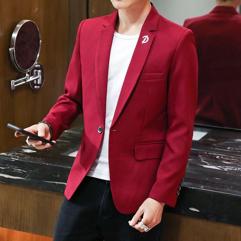 Blazer Mens Online Sale Suit Handsome Casual Spring Suit Coat Red