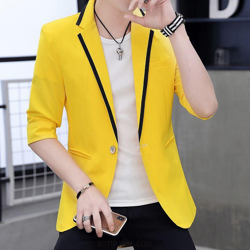 Blazer Mens Online Sale Summer Slim Fit Trend Men Tops Coat Yellow