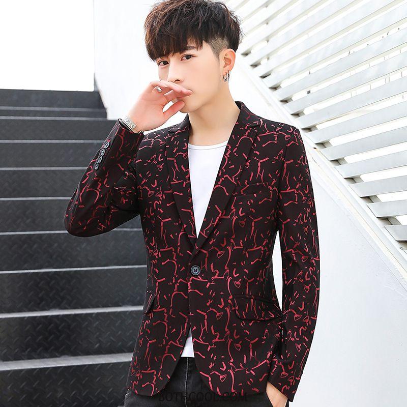 Blazer Mens Online Slim Fit Men's Coat Trend Business Europe Red