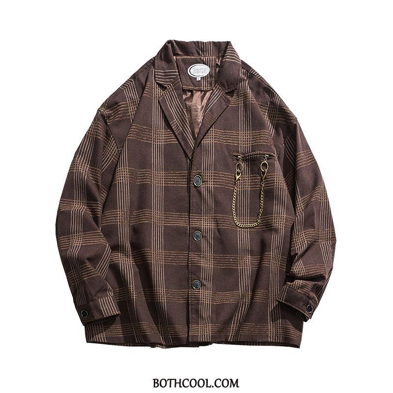 Blazer Mens Online Tops Jacket Design Europe Loose Chain Stripe Brown