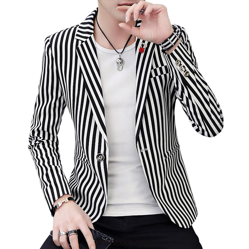 Blazer Mens Online Trend Casual Suit Coat Men Autumn Stripe Black