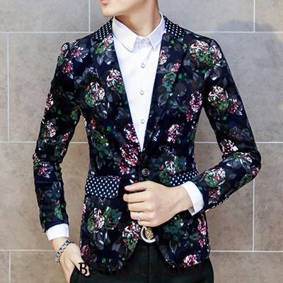 Blazer Heren Goedkope Pak Bloemen Casual Koel Trend Bedrukken Gemengde Kleuren Blauw