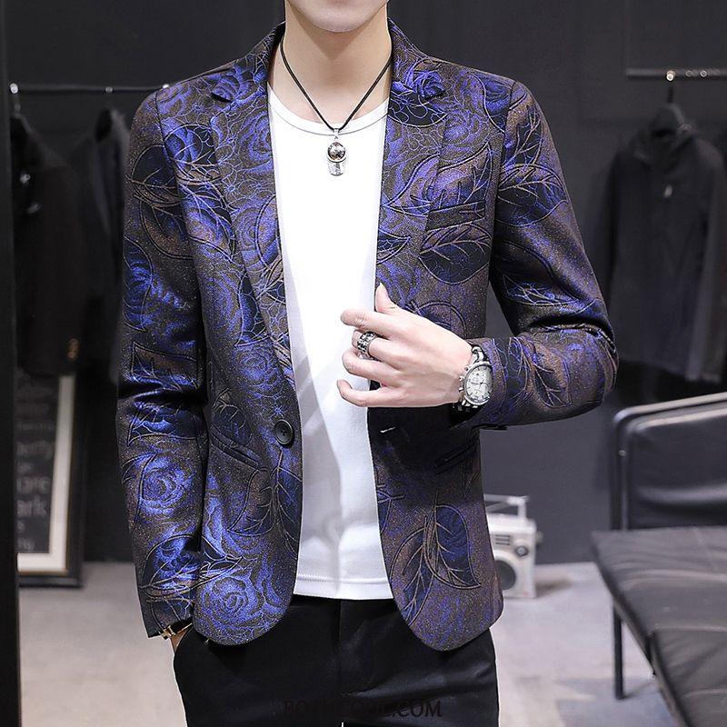 Blazer Mens Sale Coat Autumn Tops Suit Trend Youth Printing Purple