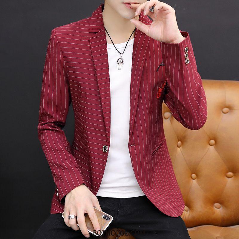 Blazer Mens Sale Embroidery Handsome Europe Coat Men's Slim Fit Stripe Red