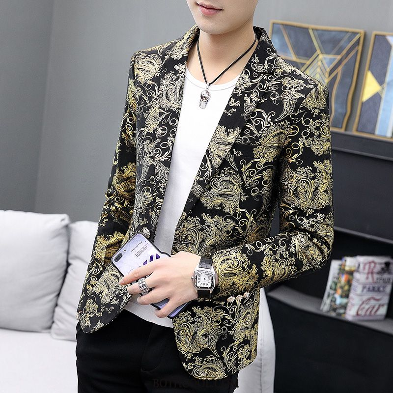 Blazer Mens Shop Online Suit Personality Men Banquet Europe Coat Printing Gold