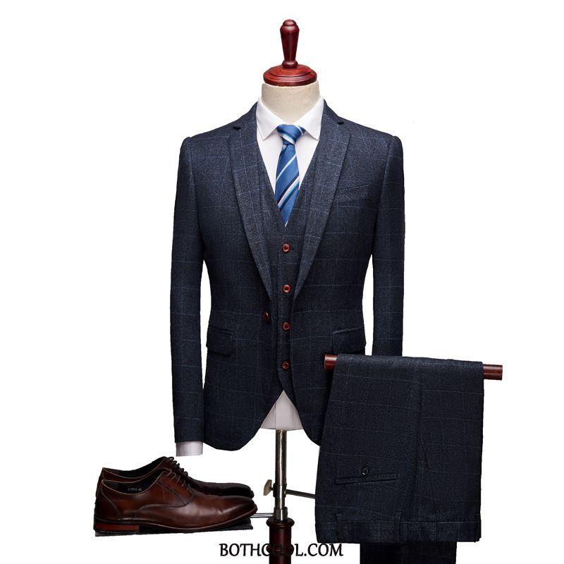 Abito Completo Uomo Economici Tuta Sposo A Quadri Slim Fit Autunno Nozze Blu
