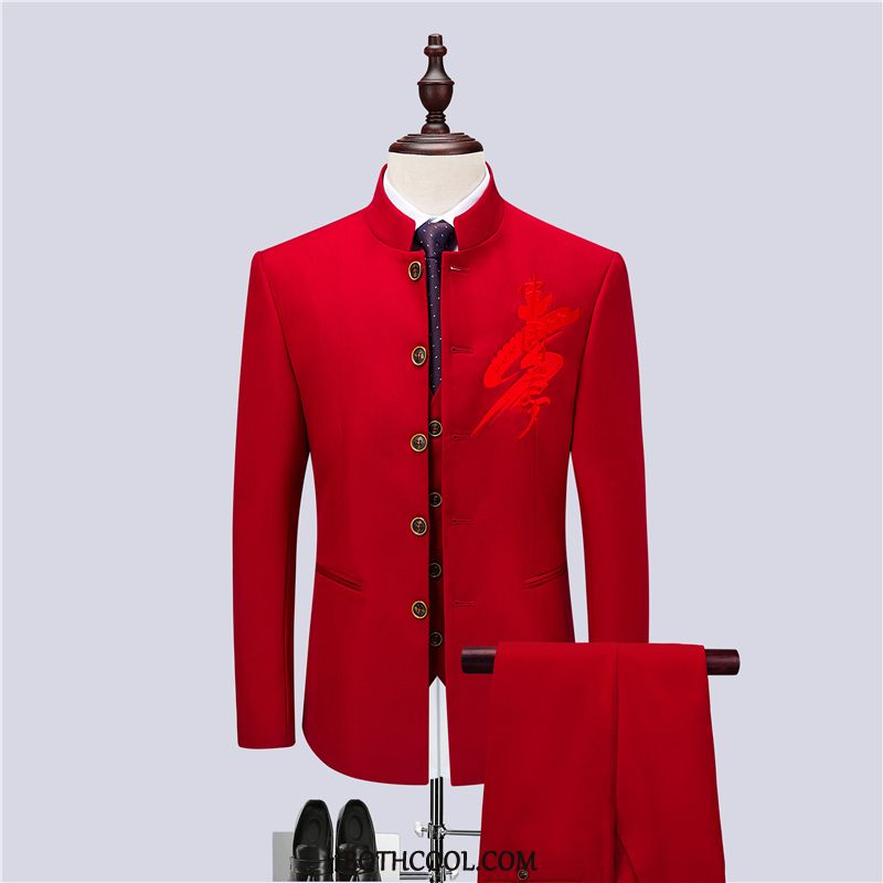 Suits Mens Buy Clothing Three Sets Slim Fit Dress Casual Stage Red
