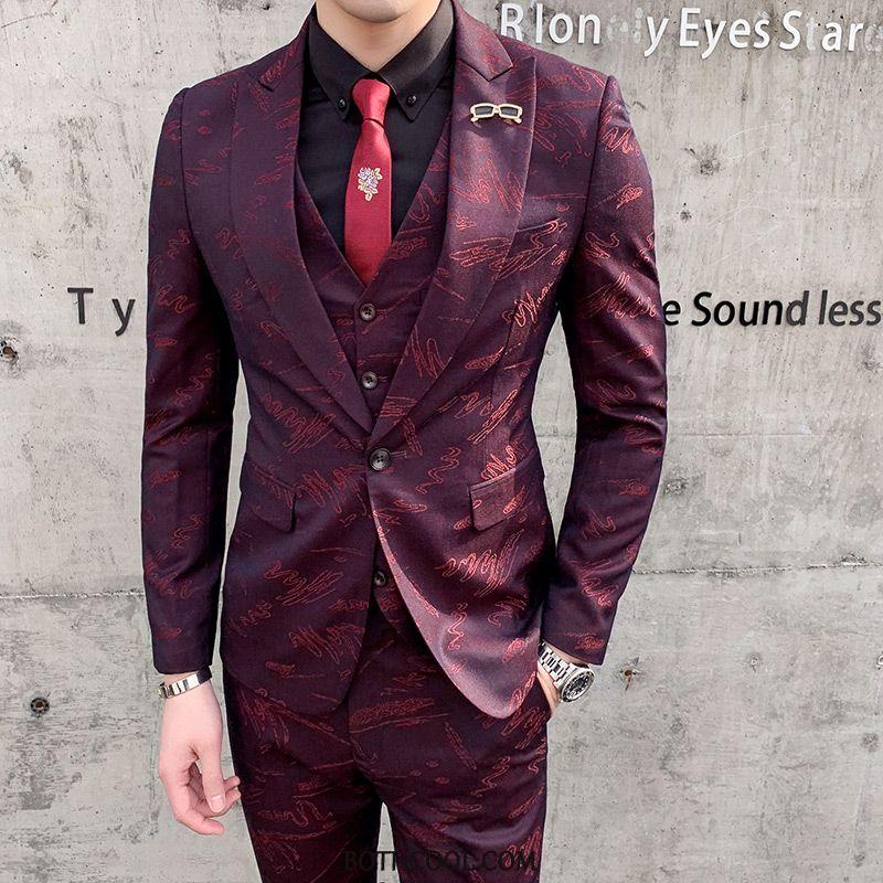 Suits Mens Buy Dress Flower Slim Fit Men's Presided Over Trend Red Wine