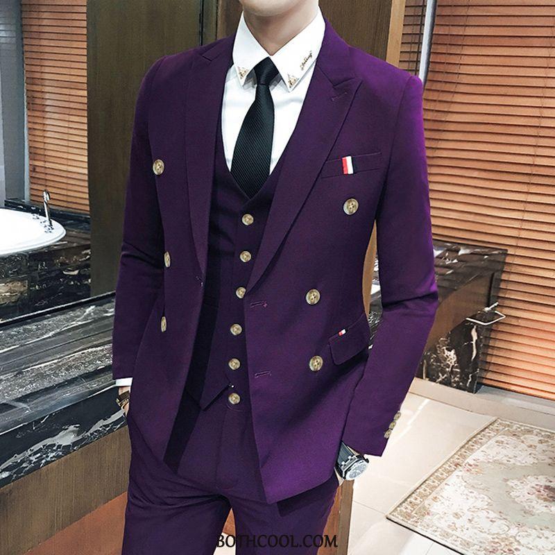 Costume Homme Vente Mariage Britanique Robes Trois Ensembles Ensemble Meilleur Pure Violet