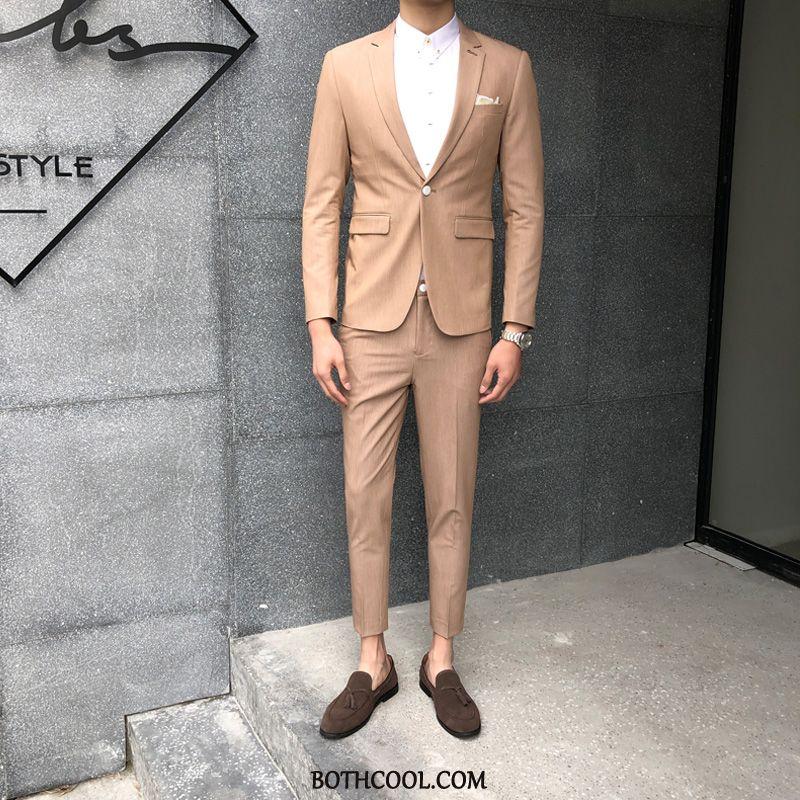 Abito Completo Uomo On Line Vestiti Sottili Britannico Tendenza Bello Business Puro Cachi