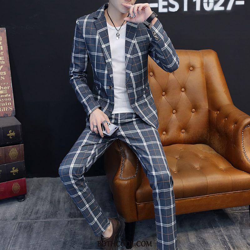 Anzüge Herren Kaufen Männer Hose Zweiteiliger Anzug Dünn Anzug Slim Fit Blau