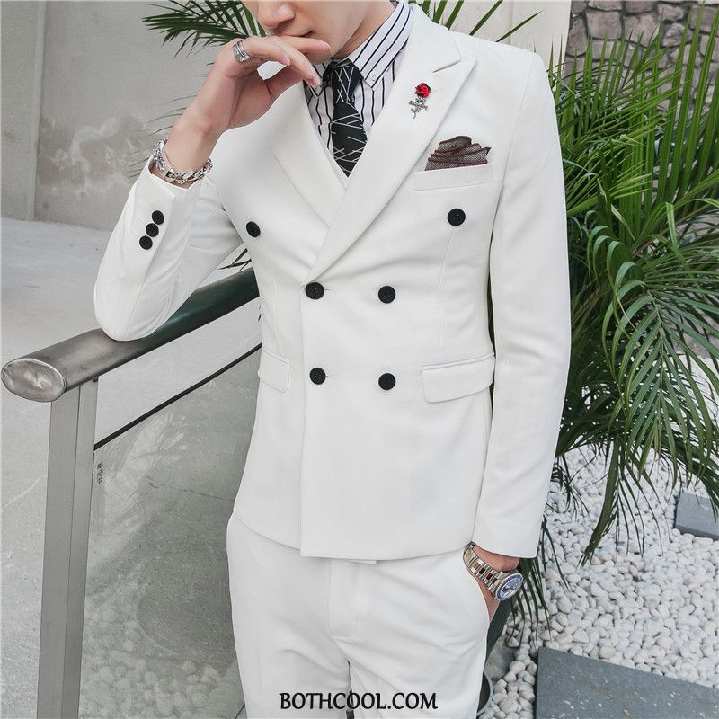 Suits Mens Buy Men's Trend Double Breasted British Dress Slim Fit White Blue